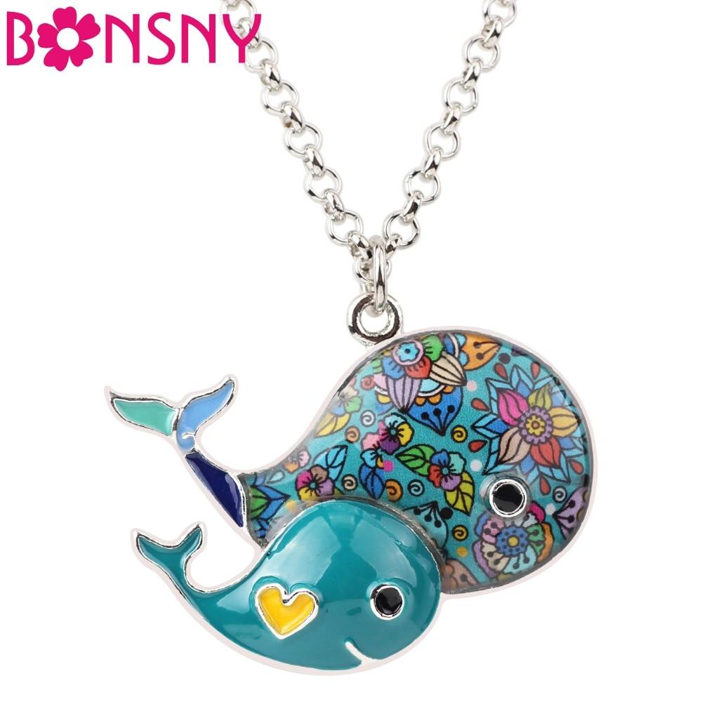 Bonsny Statement Maxi Enamel Whale Necklaces Pendants Chain s