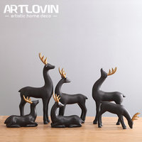 New Arrival Nordic Style Abstract Elk Figurine Nice Animal Figure For Home Decoration Black with Gold Matt Ceramic Sheep Statues