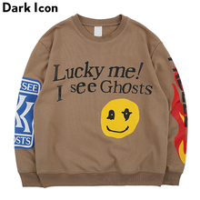 Dark Icon Lucky Me I see Ghosts Sweatshirts Men 2019 Spring Letters Flame Printed Hip Hop Sweatshirt Terry Mens