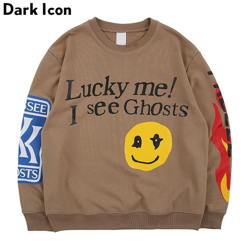 Icône sombre Lucky Me je vois des fantômes Sweatshirts hommes 2019 printemps lettres imprimé flamme Hip Hop sweat Terry hommes Sweatshirts