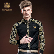 FANZHUAN Mens  Shirt Baroque Style camisa masculina Printed  HawaiianShirts Fall Long Sleeve Clothing China Free Shipping