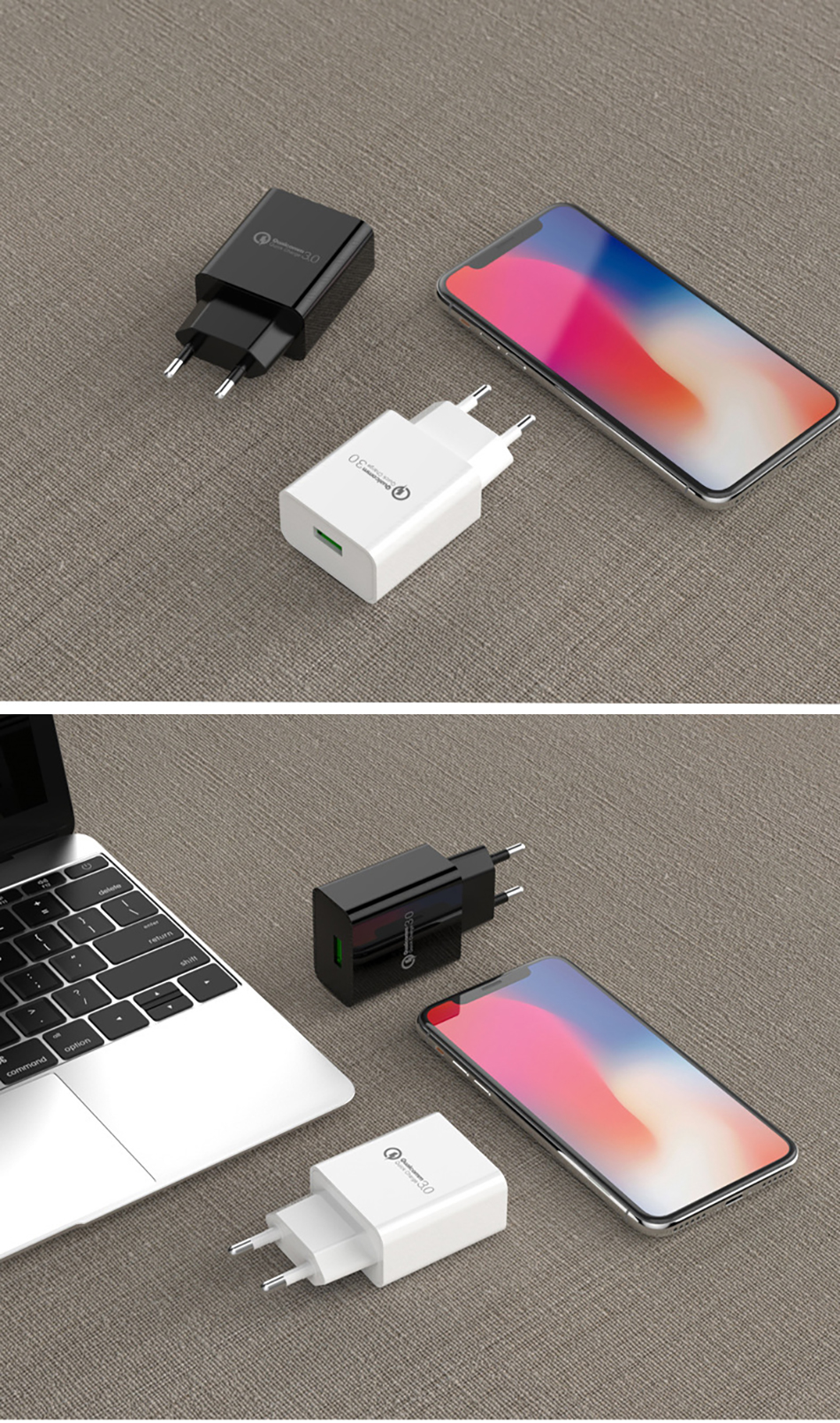 !ACCEZZ 18W Quick Charge 3.0 Fast Charging 3A EU Plug Wall Mobile Phone USB Charger Adapter For iPhone Samsung Xiaomi Huawei (13)