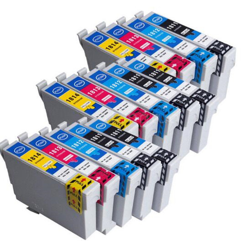 14Pcs T1811 -T1814 Ink Cartridge For EPSON XP212 XP215 XP225 XP312 XP315 XP412 XP415 XP202 XP205 XP302 XP305 XP402 XP405 Printer