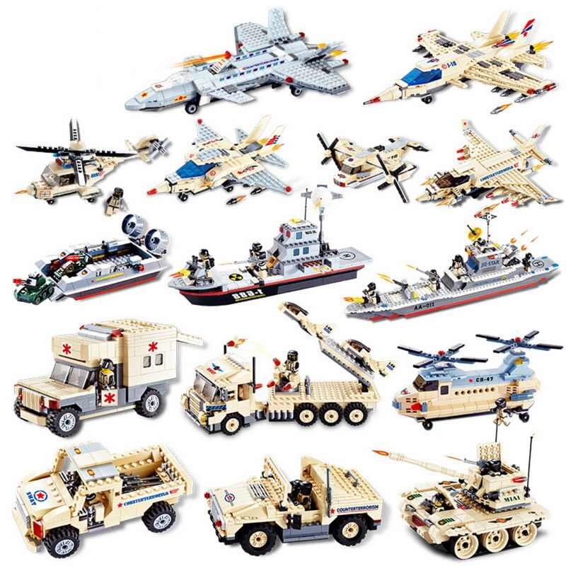 Military Fighter Tank Car Plane model assembled block Plastic kids gift Children's Educational Toys