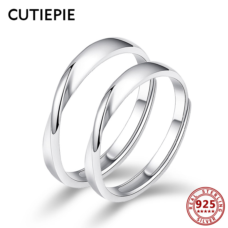 Cutiepie 100% 925 Sterling Silver Spherical Everlasting Love Couple Rings Adjustable Finger Ring For Lovers Wedding ceremony Silver Jewellery Presents