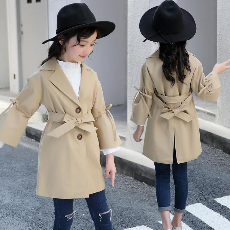 где купить Back to School Outfits Fashion 2018 Autumn Toddler Girls Trench Children Clothing Baby Girl Cotton Trench Kids Clothes 10 12 14 по лучшей цене
