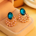Blue Crystals stud Earrings for women Flower Hollow out gold color fashion jewelry Earrings female party gift top quality