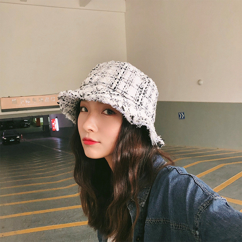 2018 Autumn Winter Runway Look Women Bucket Hat Chic Black And White Plaid Caps Fisherman Panama High Quality Tweed Hats