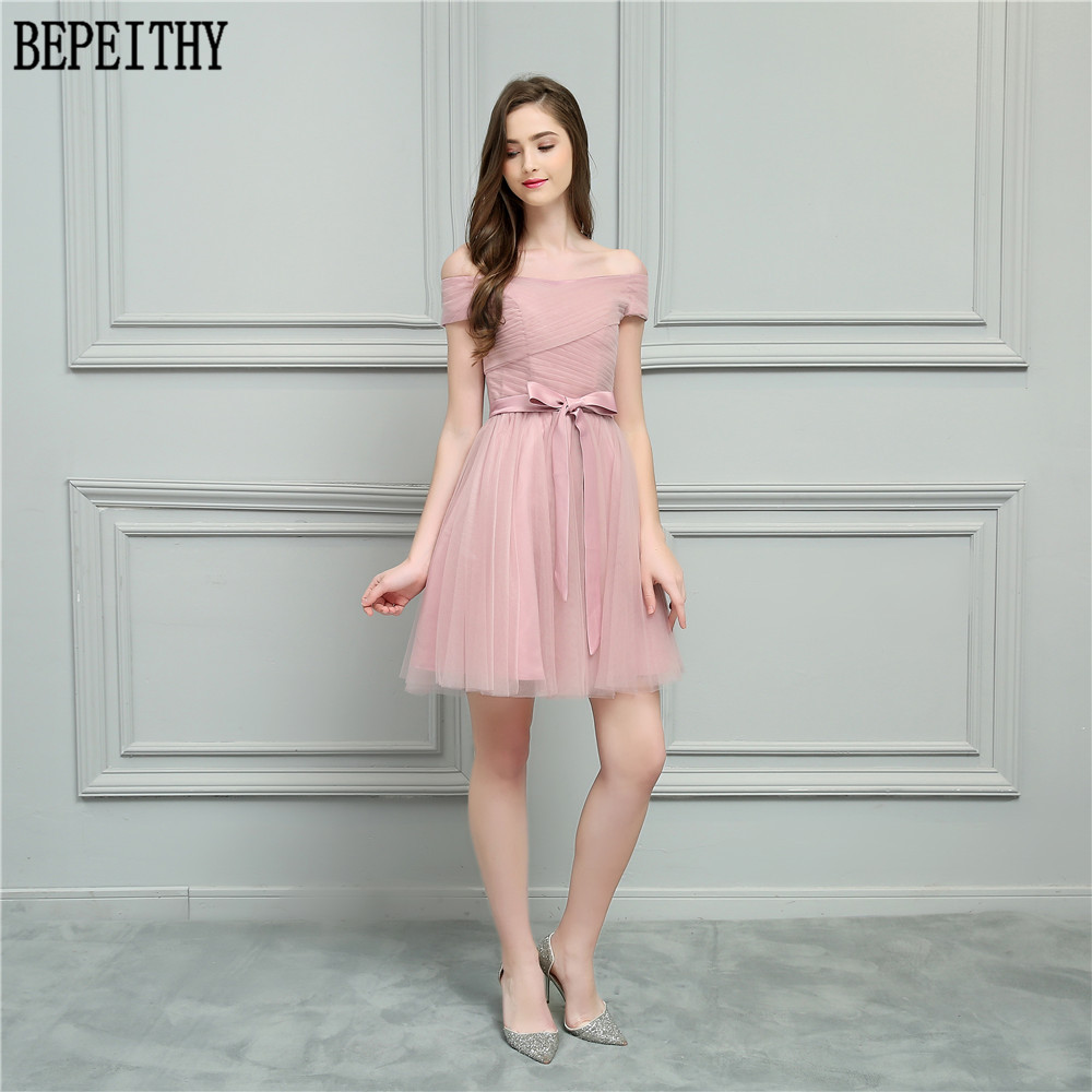BEPEITHY Vestido De Festa Longo 2018 New Design Boat Neck Bow Pleats Tulle A-Line Short Prom Dresses Bridesmaid Dresses