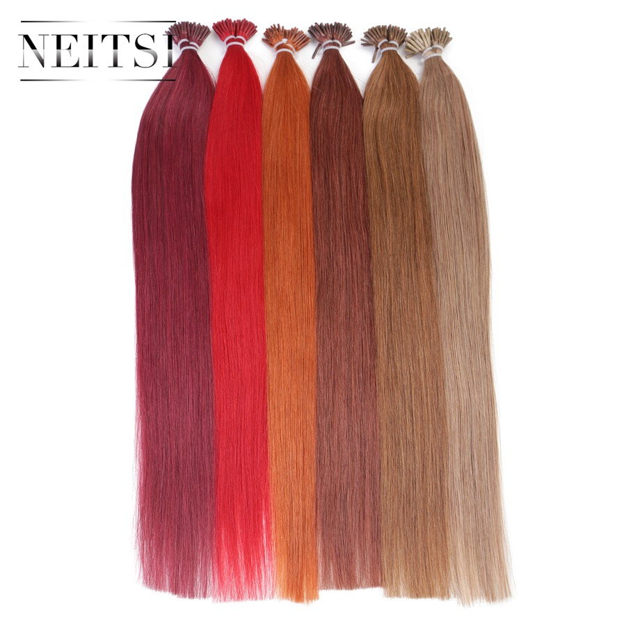 Neitsi Straight Brazilian Fusion Hair I Tip Stick Tip Keratin Hair Machine Made Remy Human Hair