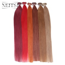 Neitsi Straight Brazilian Fusion Hair I Tip Stick Tip Keratin Hair Machine Made Remy Human Hair Extensions 20″ 1g/s 20 Colors