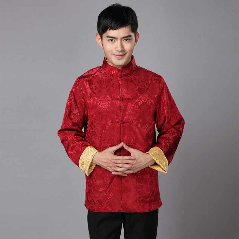 Traditional Chinese Clothing For Men New Year Tang Costume Male Silk Two-sided Daily Winter Long Sleeve Cheongsam Top Qipao  GXY