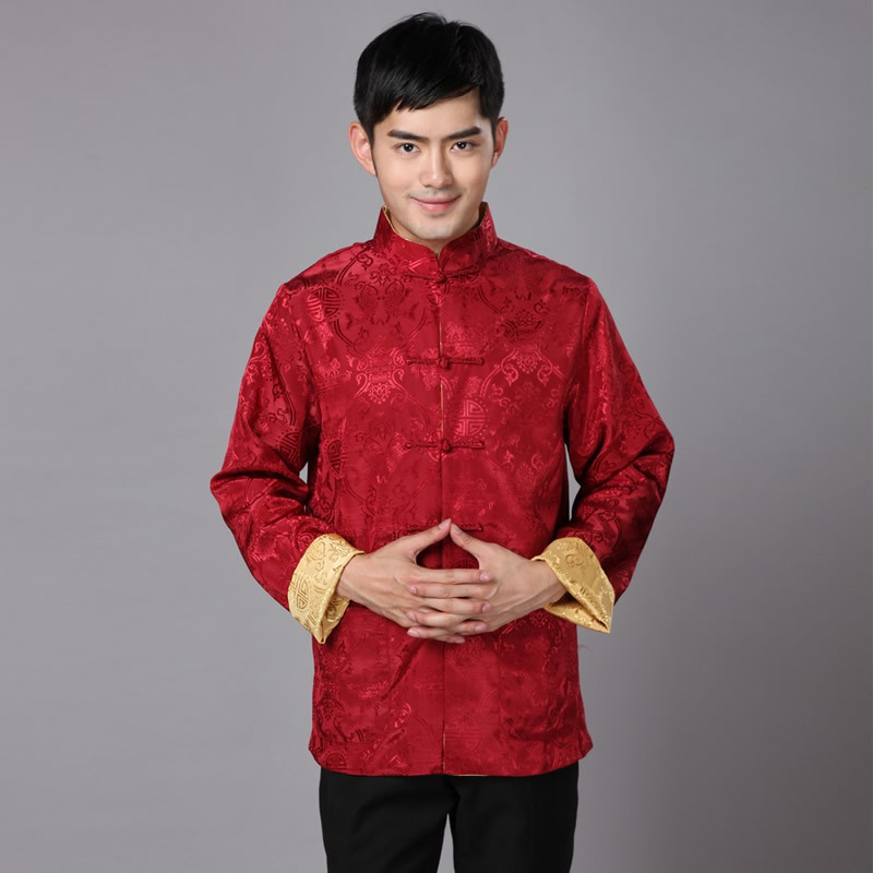Traditional Chinese Clothing For Men New Year Tang Costume Male Silk Two-sided Daily Winter Long Sleeve Cheongsam Top Qipao  GXY Рубашка