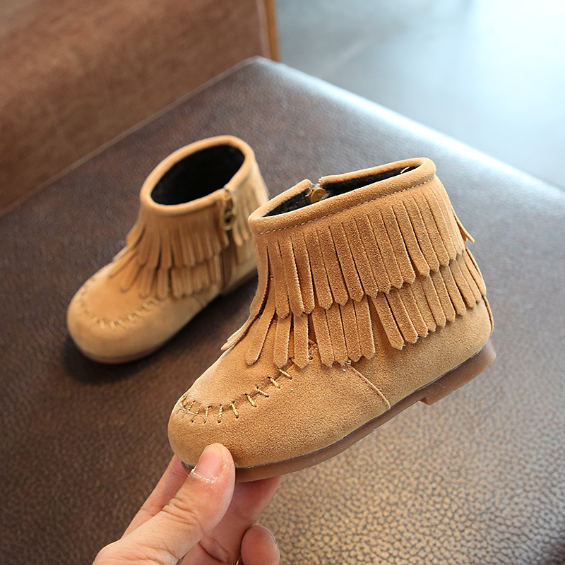 New Fashion kids boots girls boots fashion tassel toddler girl boot kids comfortable leather kids boot girls shoes Size 21-25 ...