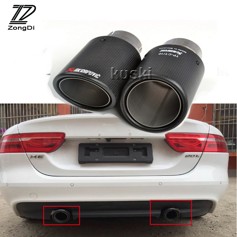 ZD 2pcs For Jaguar XF F-PACE XE X240 Accessories 2.0T 3.0T TSI Car Carbon Fiber Akrapovic Exhaust End Tips Muffler Pipe Covers exhaust tips on jaguar xe