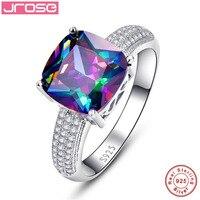 Gorący Jrose Unikalne Naturalne Rainbow CZ Obrączki Miłość Zaręczyny 100% 925 Srebrny Pierścień Zespoły Kobiece Projekt Rozmiar 6 7 8 9