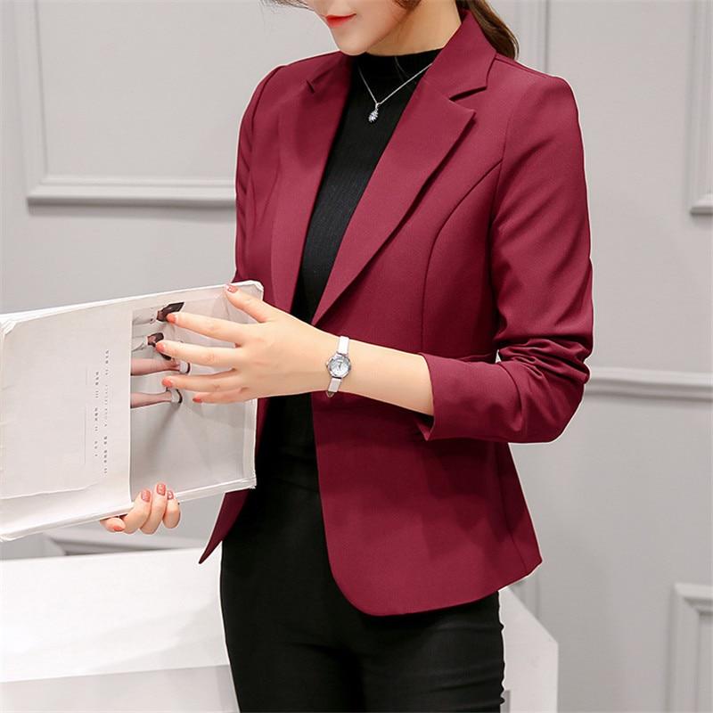 Blazer Women Wine Red 2XL Plus Size Long Sleeve Blazer Jacket 2019 New Spring Korean Elegant  Slim One Button Coat Clothing LR27