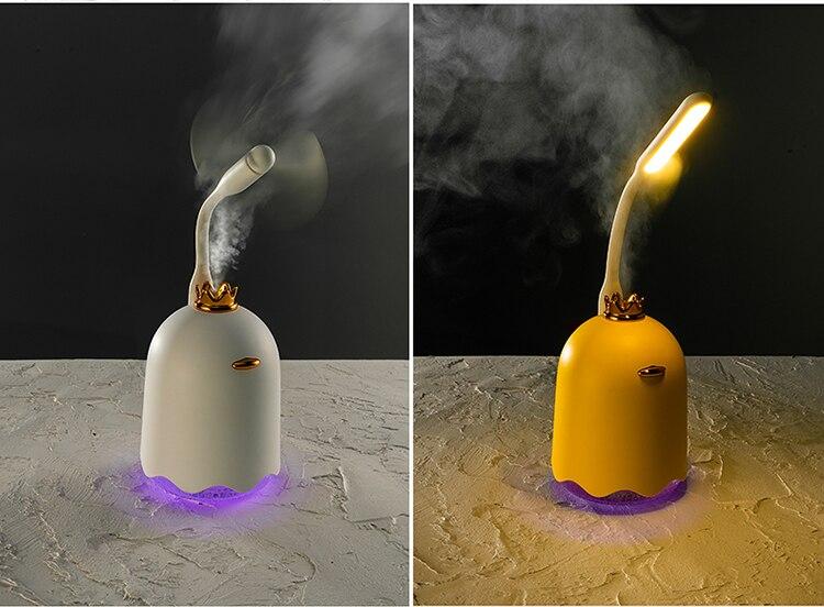 Diffuseur d'huiles essentielles Humidificateur d'air ultrasonique 250 ML blanc avec couronne  | OkO-OkO