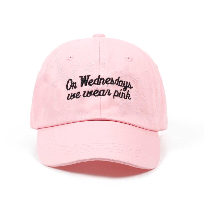 fce10ae0e44 2017 new Women s on Wednesdays We Wear Pink embroidery dad cap girl summer  fashion baseball cap