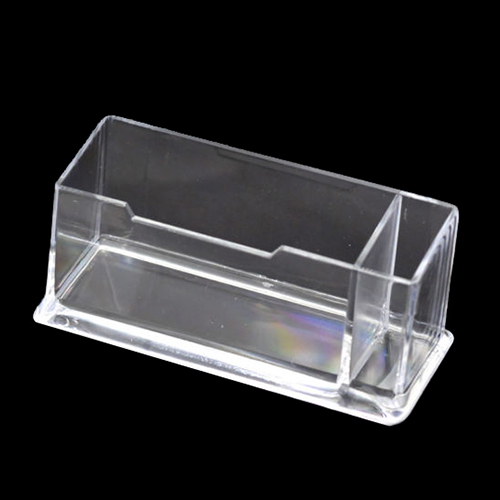 1 Pcs Clear Plastic Business Card Holder Stand Display With Pen Stand 12cm X 5cm X 4cm