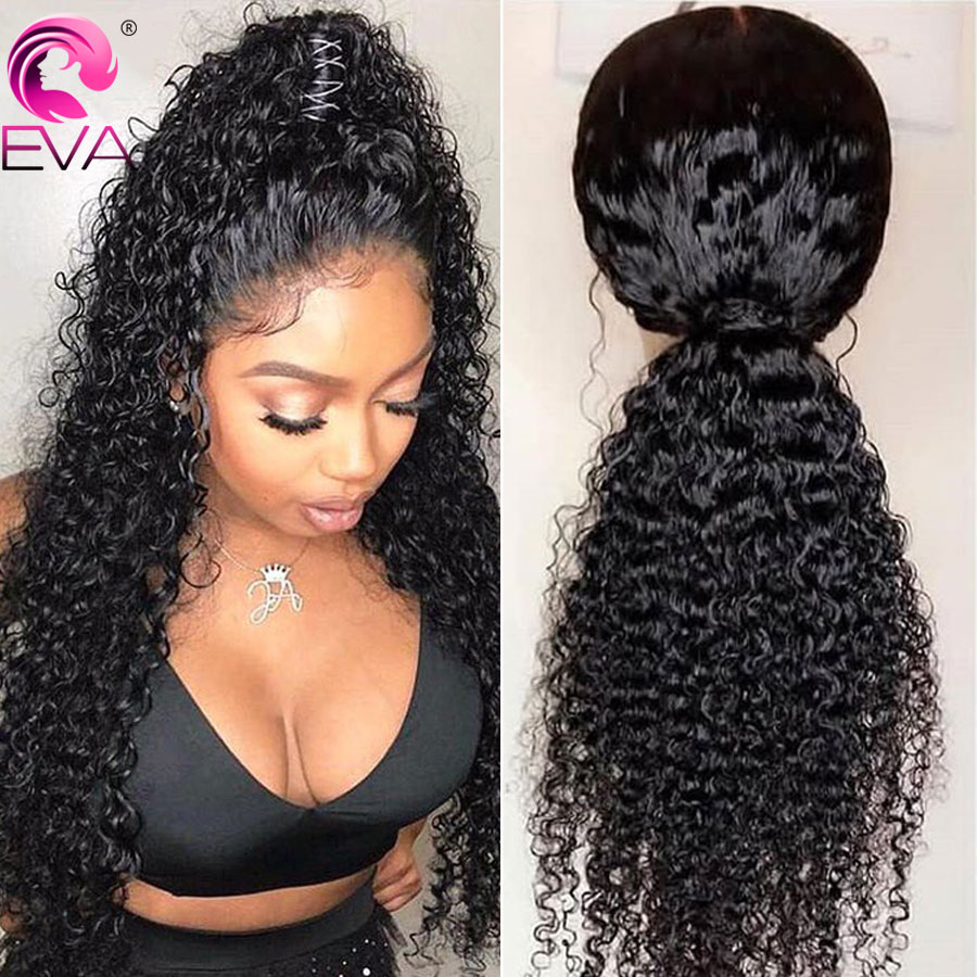 180% Density 360 Lace Frontal Wig Pre Plucked With Baby Hair Brazilian Remy Curly Human Hair Lace Wigs For Black Women Eva Hair(China)