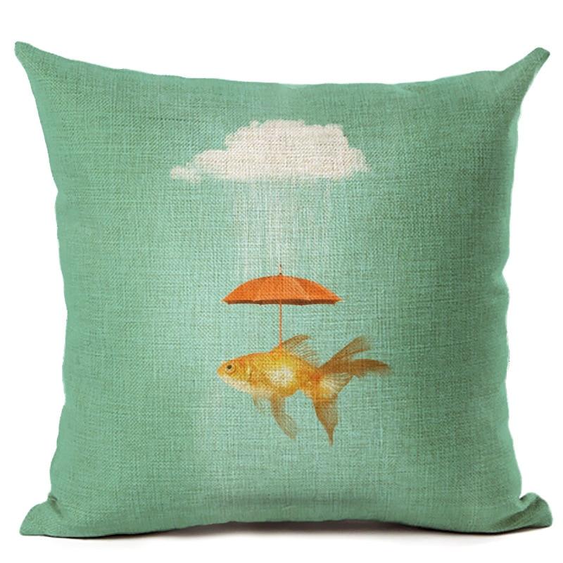 Cotton Umbrella Fish Cushion Cover Pillowcase Square Cotton Pillow Case For Car Sofa Car Seat Home Decor F