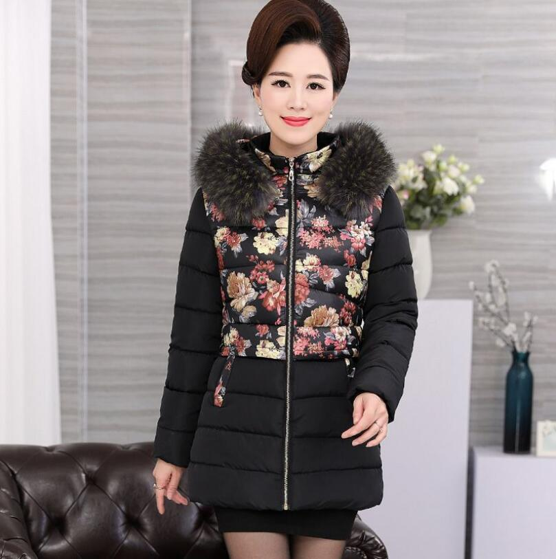 Plus size 4XL Middle aged Women Jacket Coats Winter Down cotton Parkas Thicker Hooded Raccoon fur collar Warm Jackets s1323 plus size winter womens down cotton coats jacket warm thick cotton hooded long parkas for women winter thicker overcoat qh0864