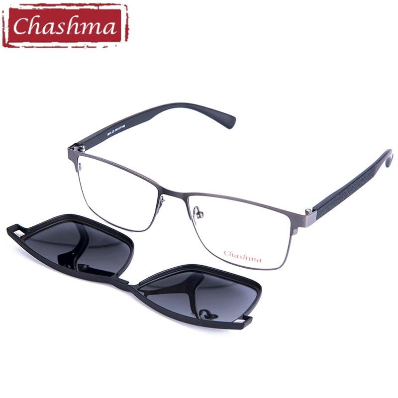 Chashma Brand Super Quality Glasses Frame Marco de aleación TR90 Temple Clips polarizados Conducción Pesca Gafas de sol Hombres Lente de campo amplio