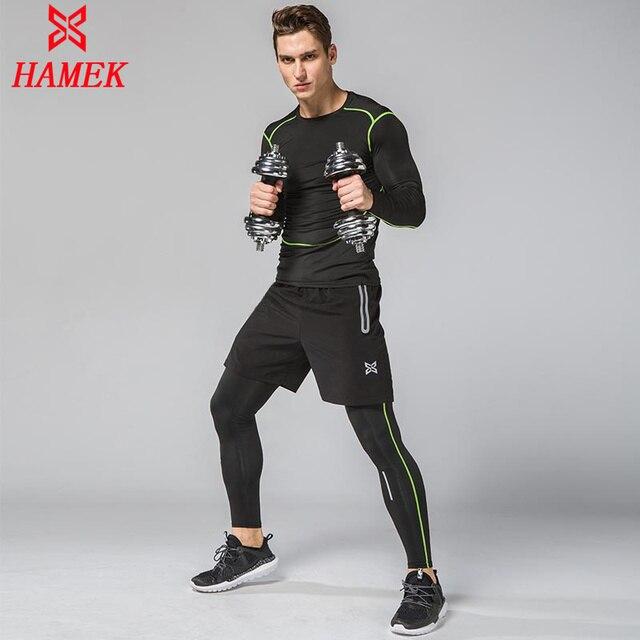 3 шт. сжатия быстросохнущая плотный спортивный костюм Для мужчин Training Фитнес длинный рукав; рубашка и штаны Мужской О-образным вырезом тренажерный зал Бег комплект спортивный костюм