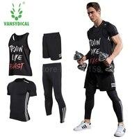 Vansydical Mens Running Sets Sports Suits 4pcs For Men Short Compression Tights Gym Fitness T Shirt