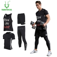 Vansydical Mens Running Sets Sports Suits 4pcs For Men Short Compression Tights Gym Fitness T Shirt
