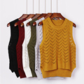Sólida Sem Mangas Splice Malhas Pullovers Camisola Das Mulheres Colete Casuais Solta Pullover Camisola de Malha Das Mulheres