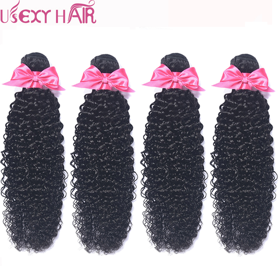 USEXY HAIR Indian Curly Wave Bundles 100% Human Hair Weave 4 Bundles Double Weft Hair Natural Color Non Remy Hair Extension