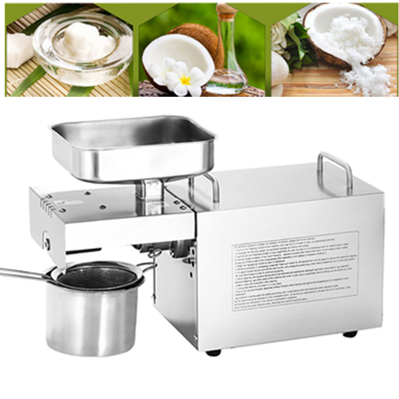 Mini Stainless Steel Sunflower Herbal Black Seed Cocoa Oil Extraction Machine, Cold Oil Press Expeller Coconut Oil Press Machine 110v 220v commercial oil press machine for sale mini oil expeller seed oil extraction machine coconut almond sesame