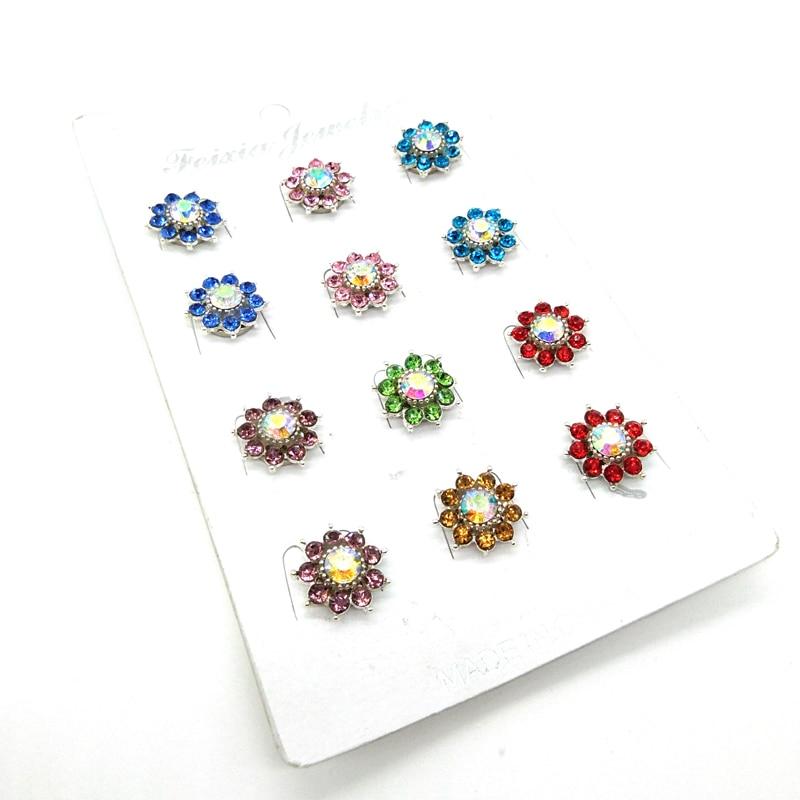 Fashion Flower Crystal Magnet Brooches Hijab Buckle Muslim 12PCS Woman Wedding Broches Muslim Brooches Safety Scarf Hijab Pins