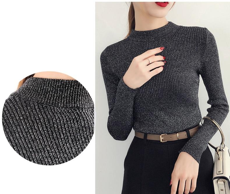 Shiny Lurex Autumn Winter Sweater Women Long Sleeve Pullover Women Basic Sweaters Turtleneck 19 Korean Style Knit Tops Femme 8