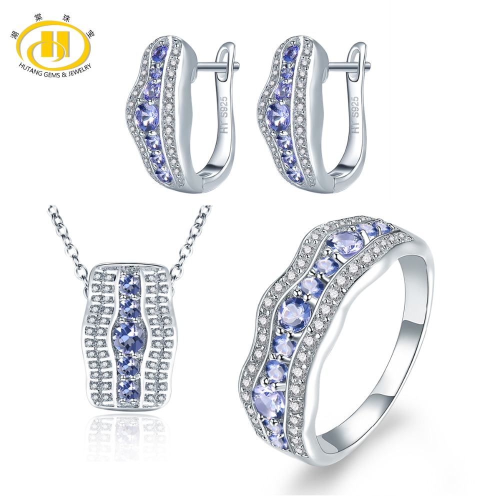 Hutang Stone Jewelry Sets Natural Gemstone Tanzanite Solid 925 Sterling Silver Earrings Pendant Ring Fine Fashion Jewelry Women