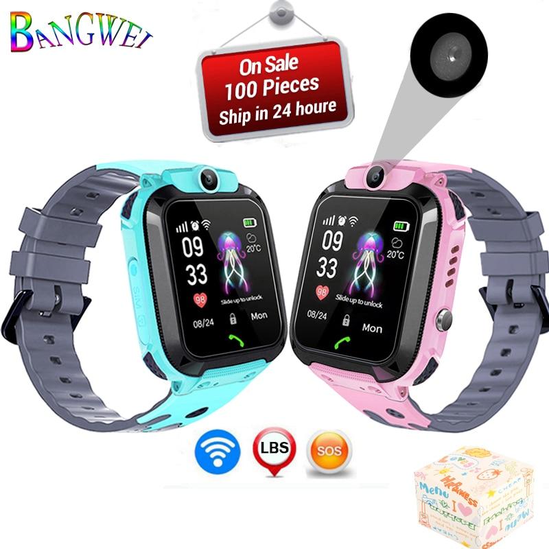BANGWEI LBS tracker kids watch Camera touch Screen SOS Call Location Baby clock Children Smart watches Q528 Y21 2G SIM card+Box
