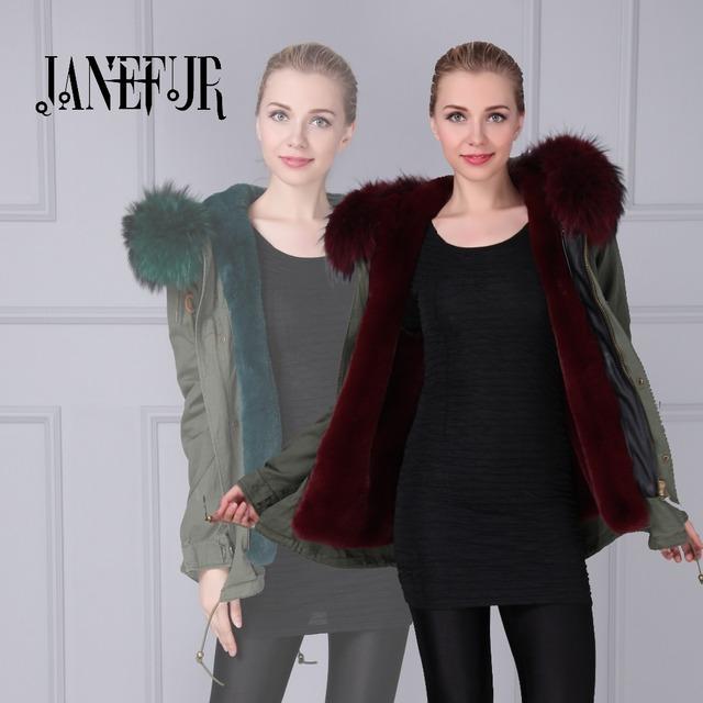Wholesales Khaki Green Parka Fur Parkas Mujer Plus Size Faux Fur Lined Real Raccoon Fur Collar Hooded Winter Fur Parka