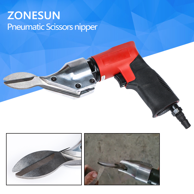 ZONESUN Pneumatic Air Cutter Scissors Straight Two-blade for Cutting Iron Sheet Sieve Meshes Stainless Steel super high cost pt 31 lg 40 air complete cutter torches 5m straight