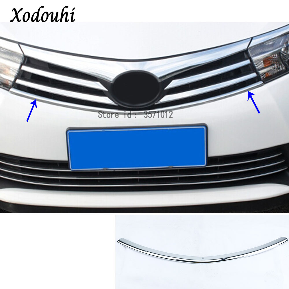 For Toyota Corolla Altis 2014 2015 2016 car body styling cover detector ABS chrome trim Front up Grid Grill Grille hoods 1pcs