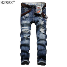 Newsosoo brand Mens Classic style ripped hole jeans for man slim fit straight washed long trousers men jeans hommes MJ95