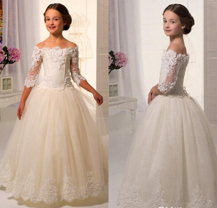 2017 Elegant Lovely   Girl   Floor-Length Lace Sleeve Off-shoulder Appliques Ball Gown   Flower     Girl     Dresses