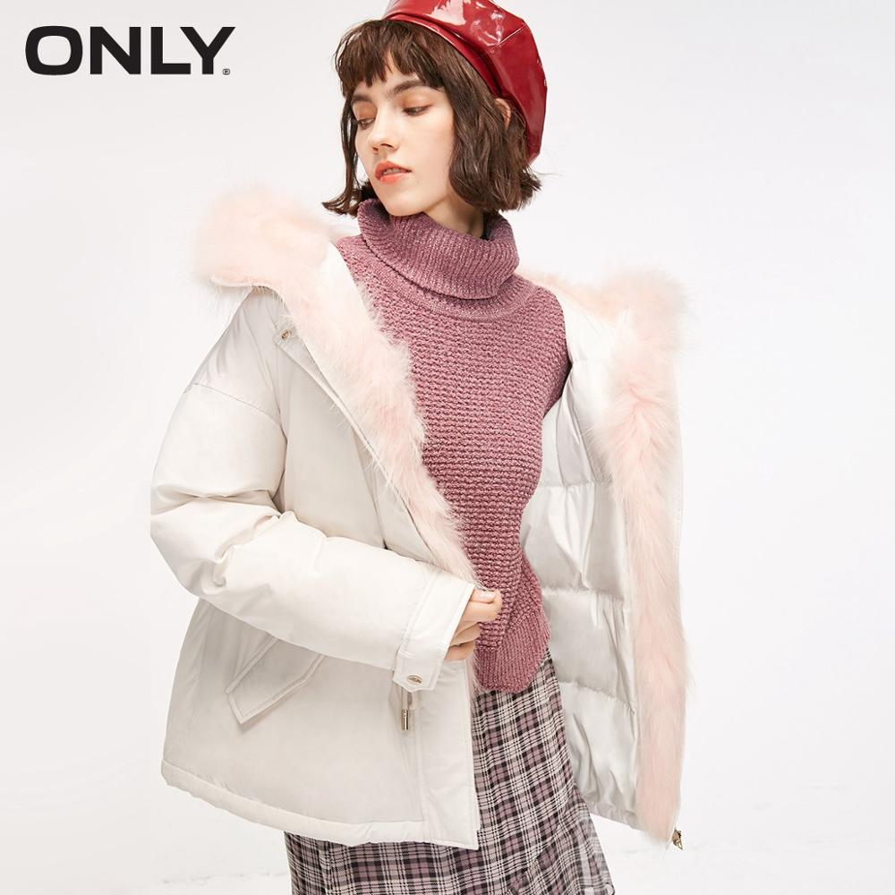 ONLY Womens' Winter Detachable Fur Collar Drawstring Down Jacket Waist Drawstring Zipper Removal Fur Collar|118312547