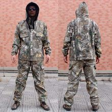51a162d1a5452 Summer Men's Bionic Camouflage Fishing Clothing Anti-mosquito Hooded  Fishing Suit Lightweight Camo Hunting Suit
