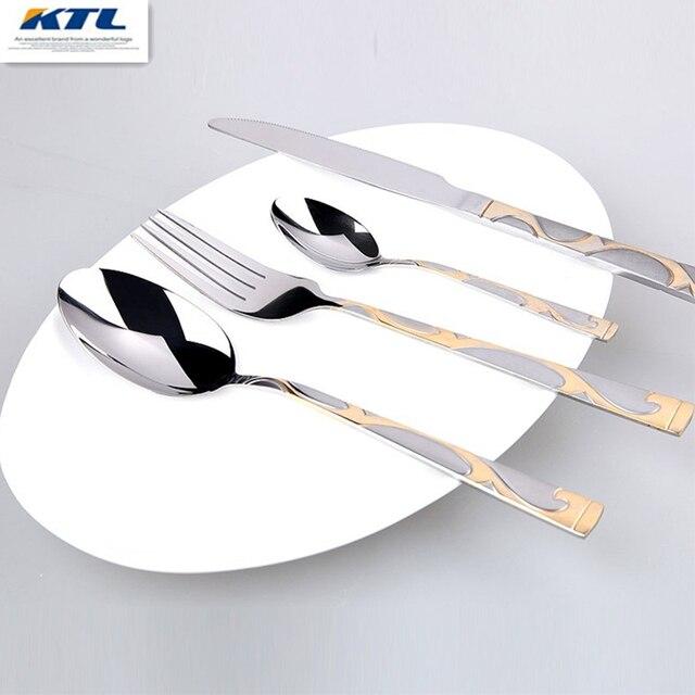 КТЛ 24 шт. Золотой инкрустация набор посуды высокое качество столовый нож из нержавеющей стали и вилка и Чайная ложка и набор столовых приборов