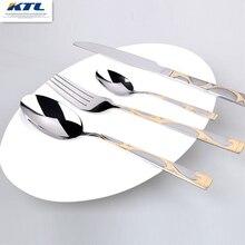 KTL 24 unids Incrustaciones De Oro juego de vajilla de porcelana de calidad superior juego de cubiertos de acero inoxidable Cena cuchillo y tenedor y cuchara de té