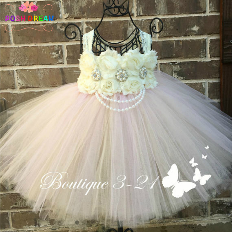 POSH DREAM Blush Pink Lace Flower Girl Dress for Wedding Party Blush Pink Champagne Shabby Flower Rhinestone Kids Tulle Dress