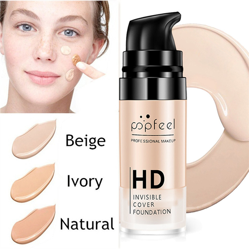 Popfeel Brand Professional Full Cover Face Makeup Concealer Base Foundation Liquid Concealer Contour Cosmetics Facial Make Up