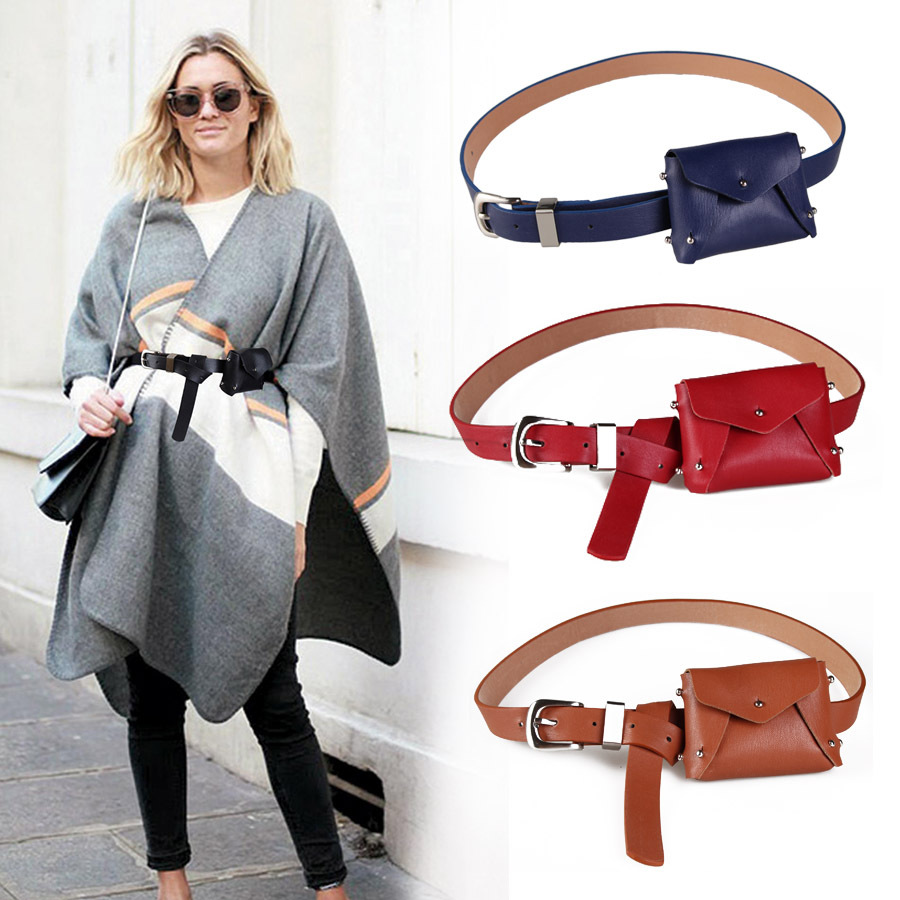 FEECOLOR Fashion Women Waistband With Pocket Pack Femal Soft PU Leather Belt  Handfree Cummerband Pouch Fanny Bag